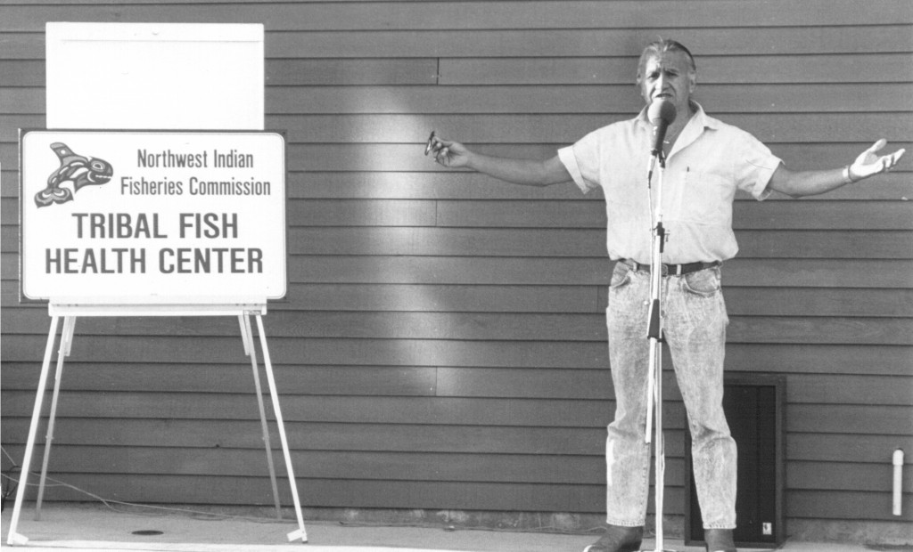 Billy Frank at fish health lab dedication